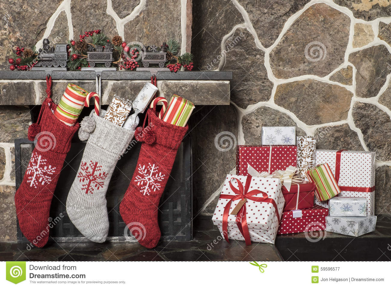 Christmas Stockings And Presents Stock Image Image 59596577