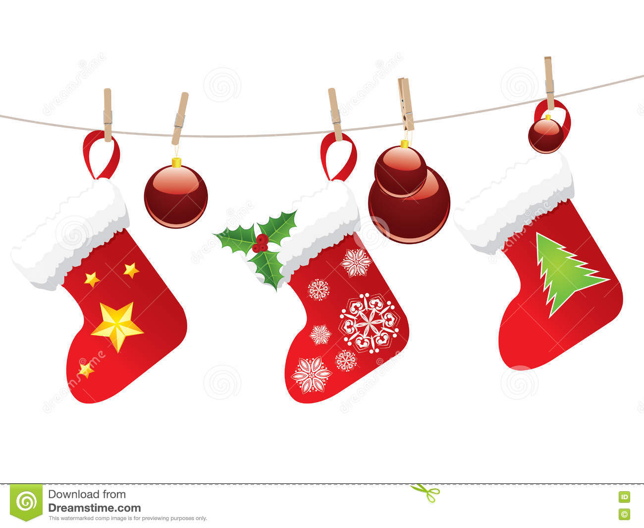 Christmas Stockings On Rope Stock Vector - Illustration of ...