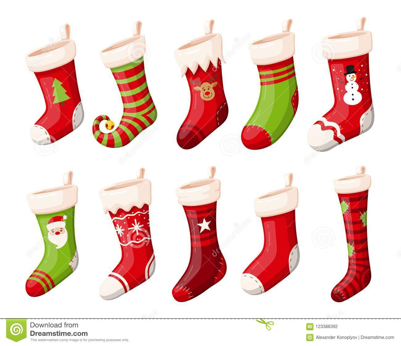 Christmas Stockings Or Socks Isolated Vector Set Stock Vector