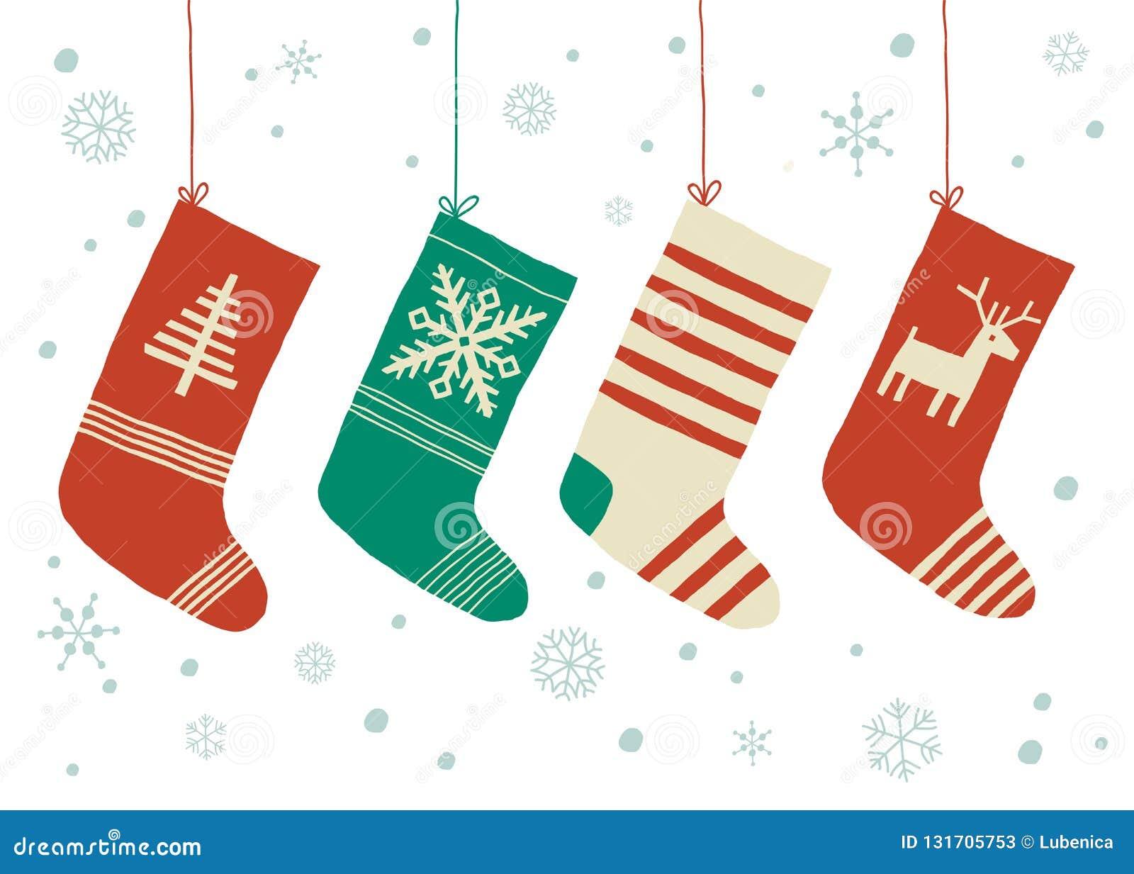 Christmas Stockings Vector Background. Cartoon Vector Hand Drawn Eps ...