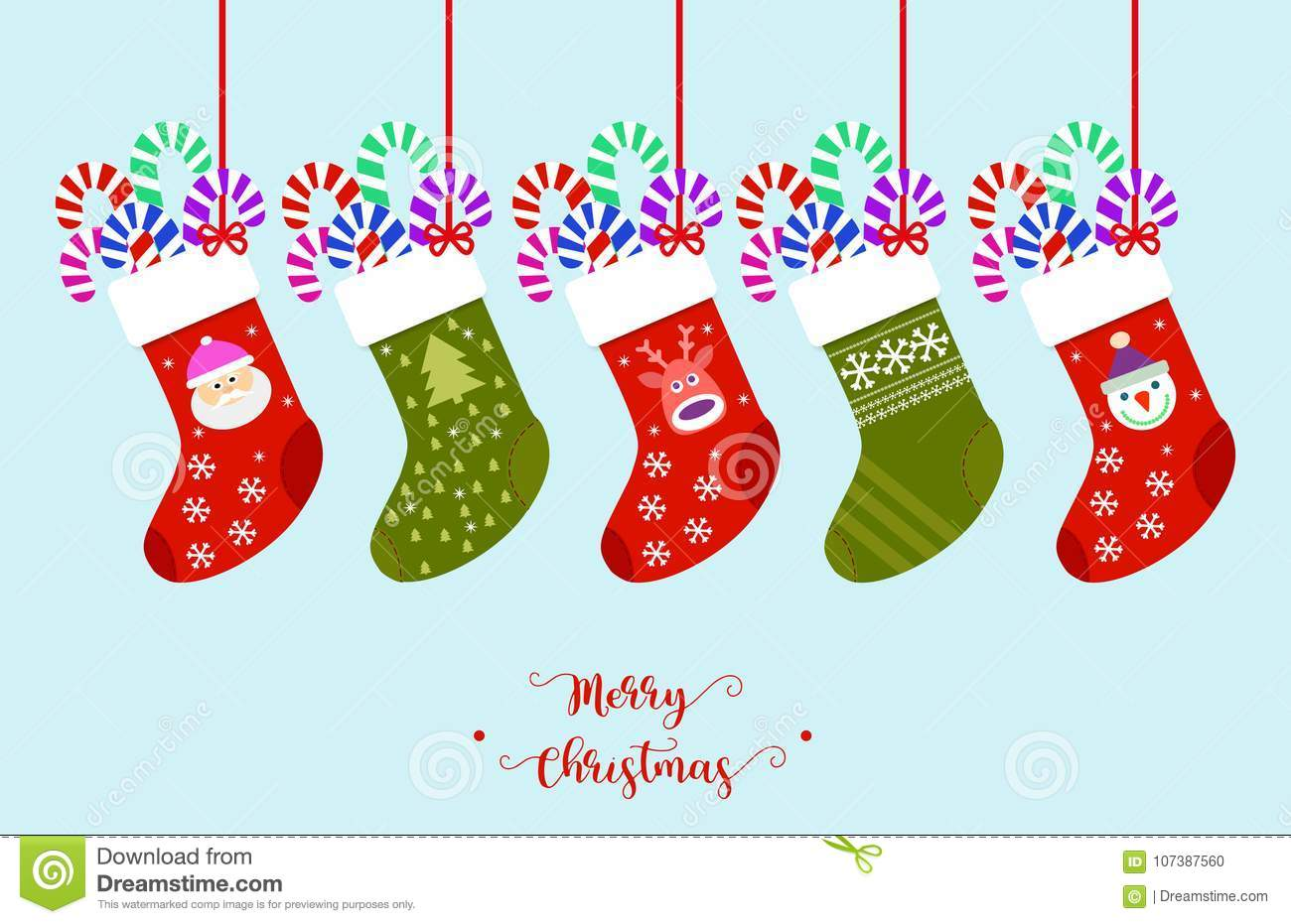 download christmas stockings vector stock vector illustration of happy 107387560 - Funny Christmas Stockings