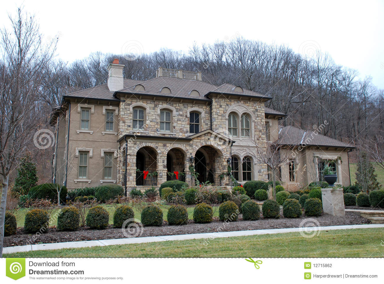 Christmas Stone Luxury Home 44 Stock Photography Image