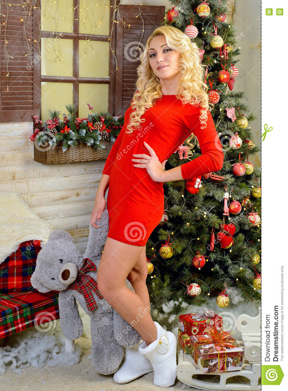 merry girl in red dress standing next to a christmas tree bowl of paw teddy bear volgograd region russia november 8 2015 - A Dream For Christmas