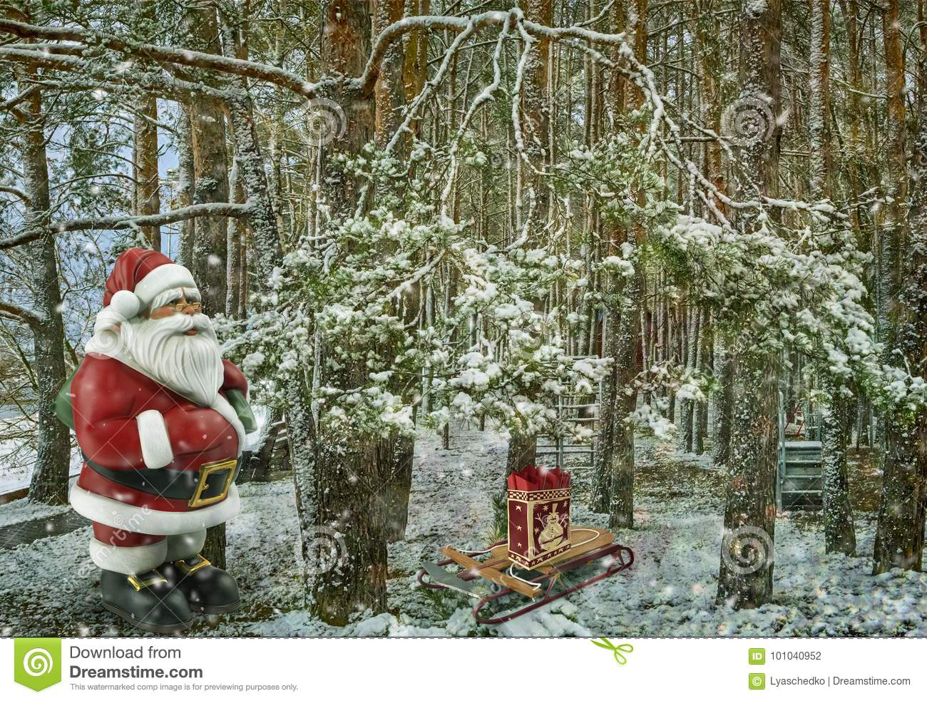 A Gift For Christmas Story.Christmas Story Santa Claus With Gifts Near The Christmas