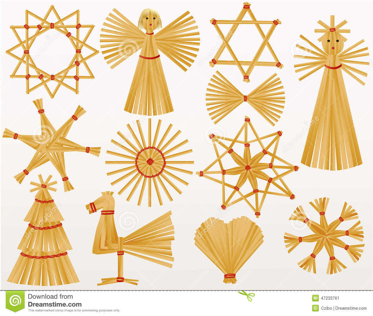 Christmas Straw Decorations Stock Vector