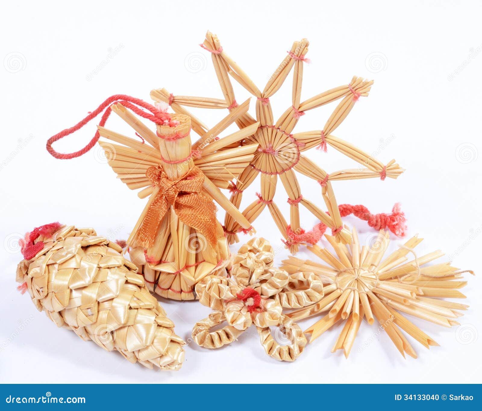 Christmas Straw Decorations Stock Photo