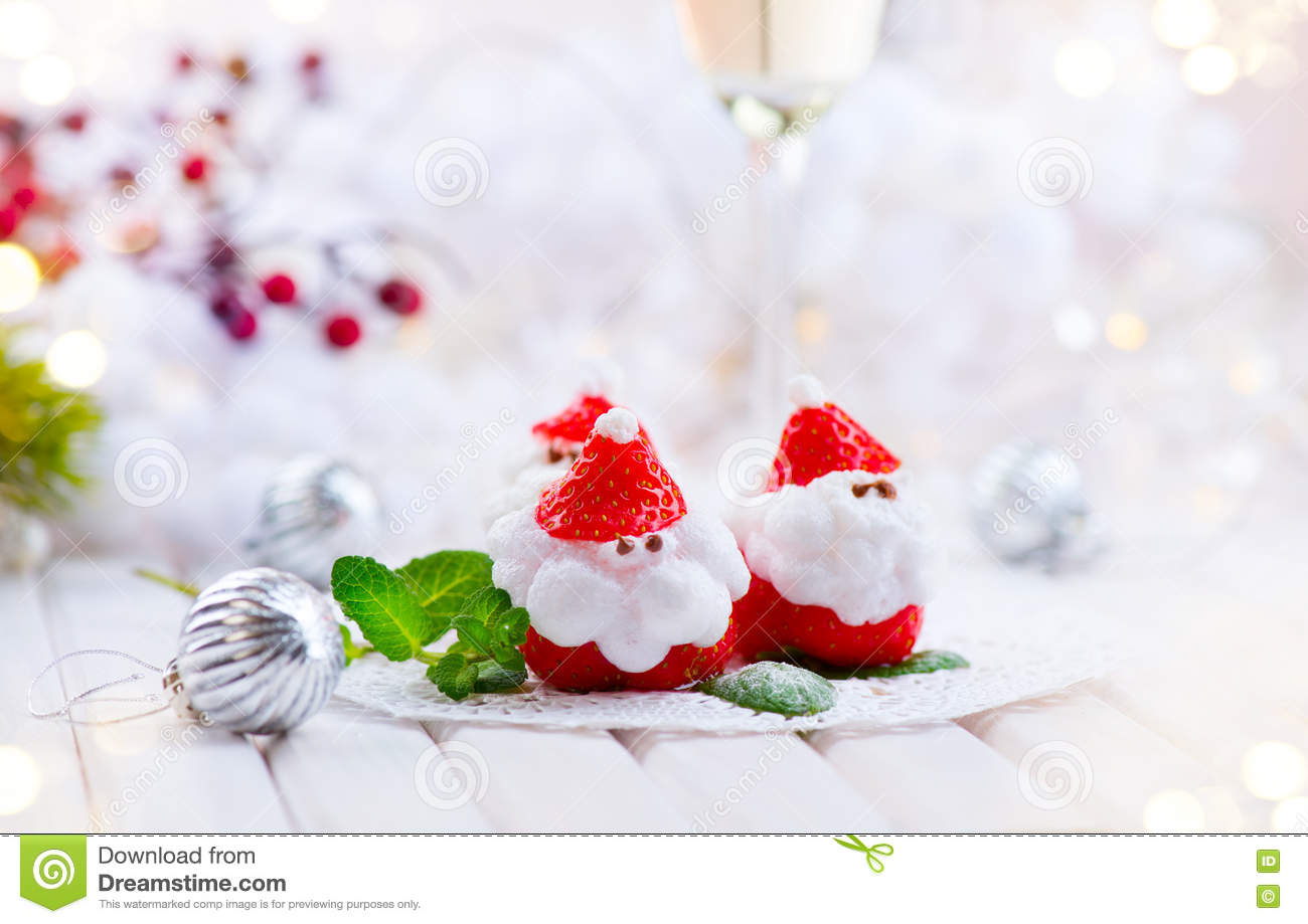 Christmas Strawberry Santa. Funny Dessert Stuffed With Whipped Cream ...