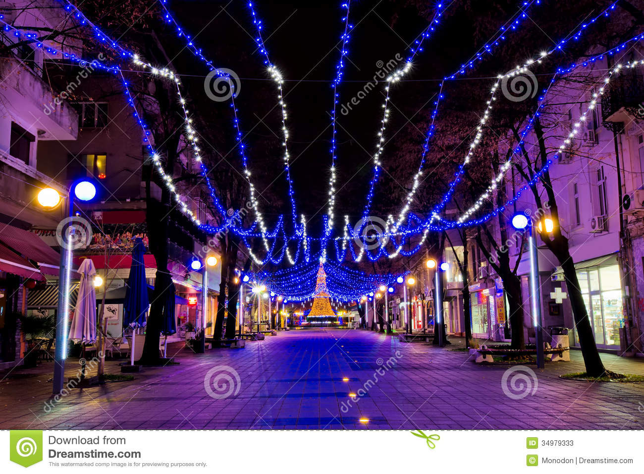 Christmas decorations in burgas streets