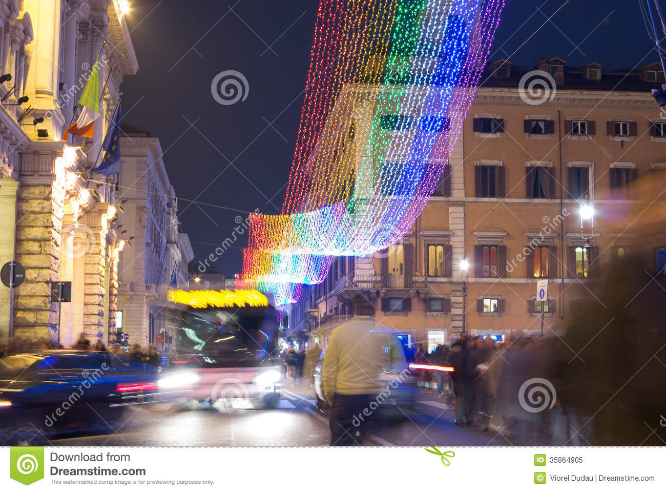 Christmas street decorations in rome editorial image