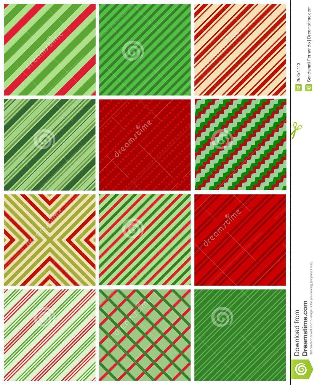 Red and green stripes christmas seamless pattern collection