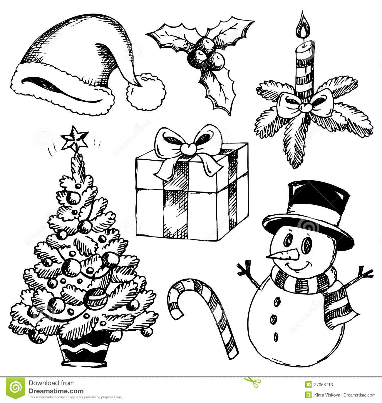 Christmas Stylized Drawings 1 Stock Vector