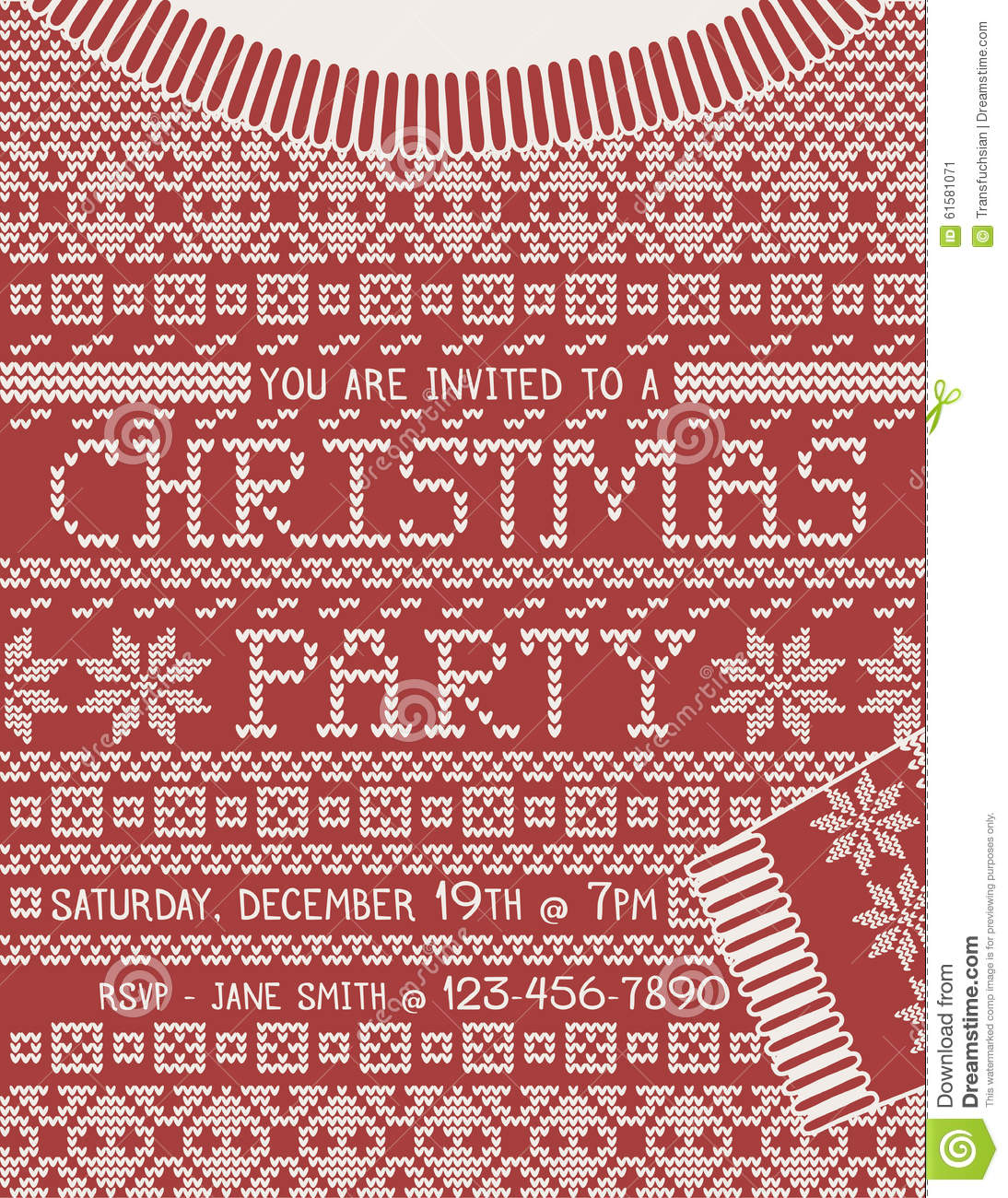 Christmas Sweater Party Invitation Template