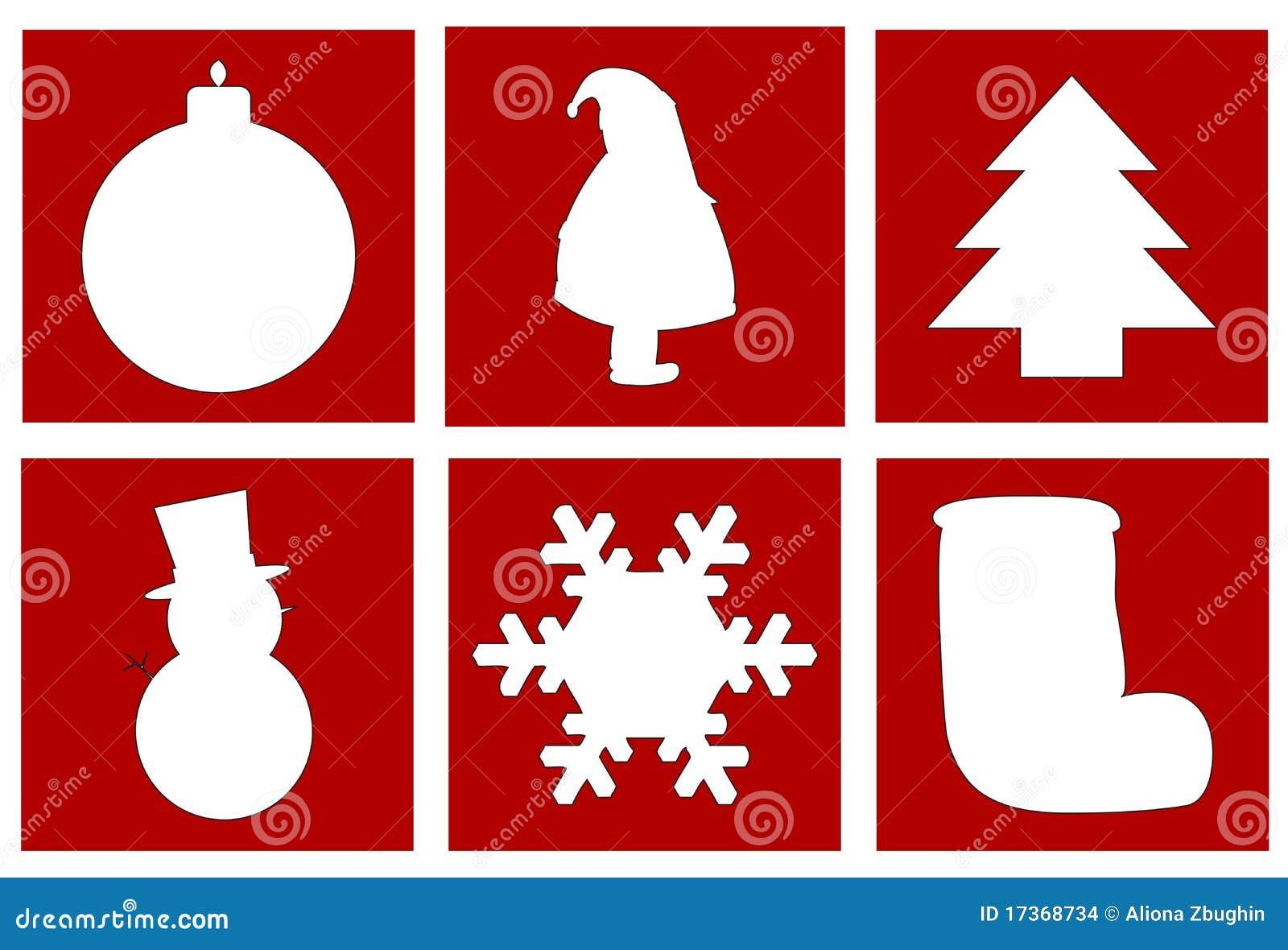 Christmas symbols including a ball,santa , christmas tree, snowman ...