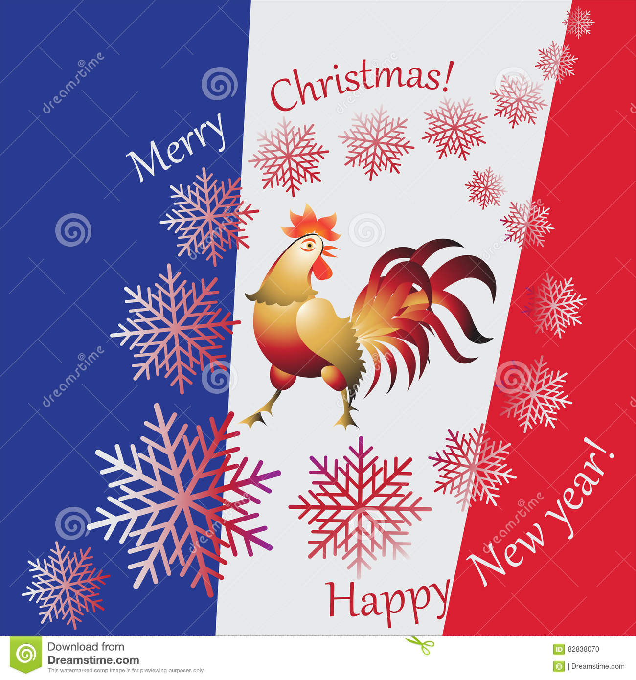 Christmas Symbols Of France Stock Vector Illustration Of Blue