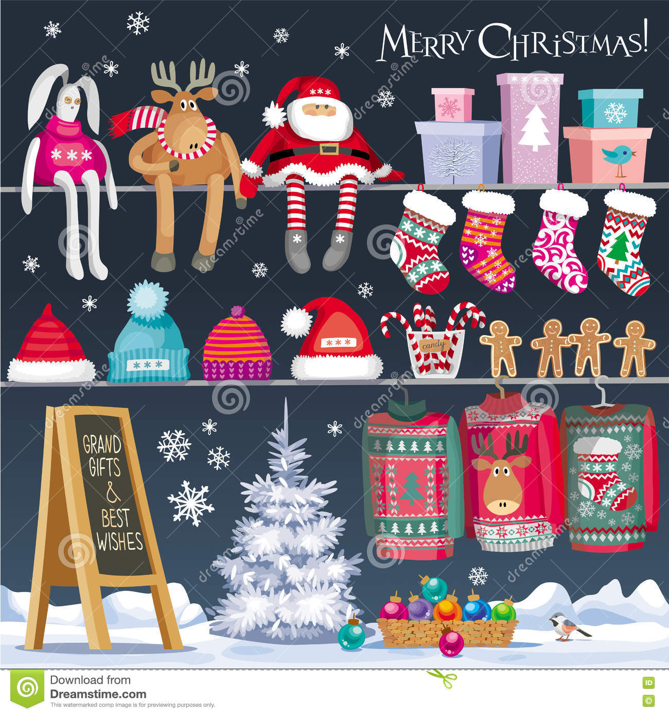 Christmas Symbols Set Stock Vector. Illustration Of