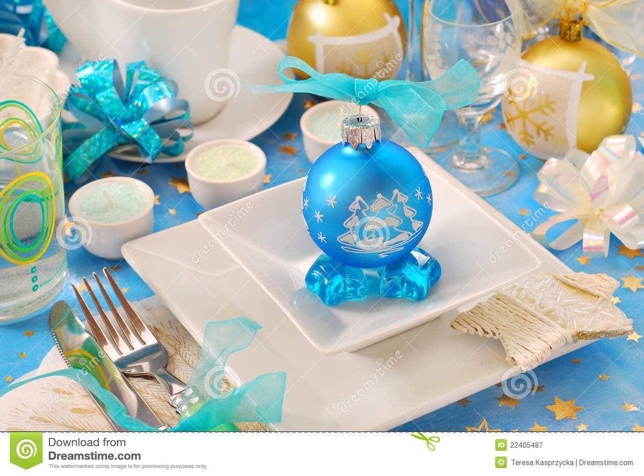 Christmas Table With Blue Bauble Decoration Stock Image Image Of