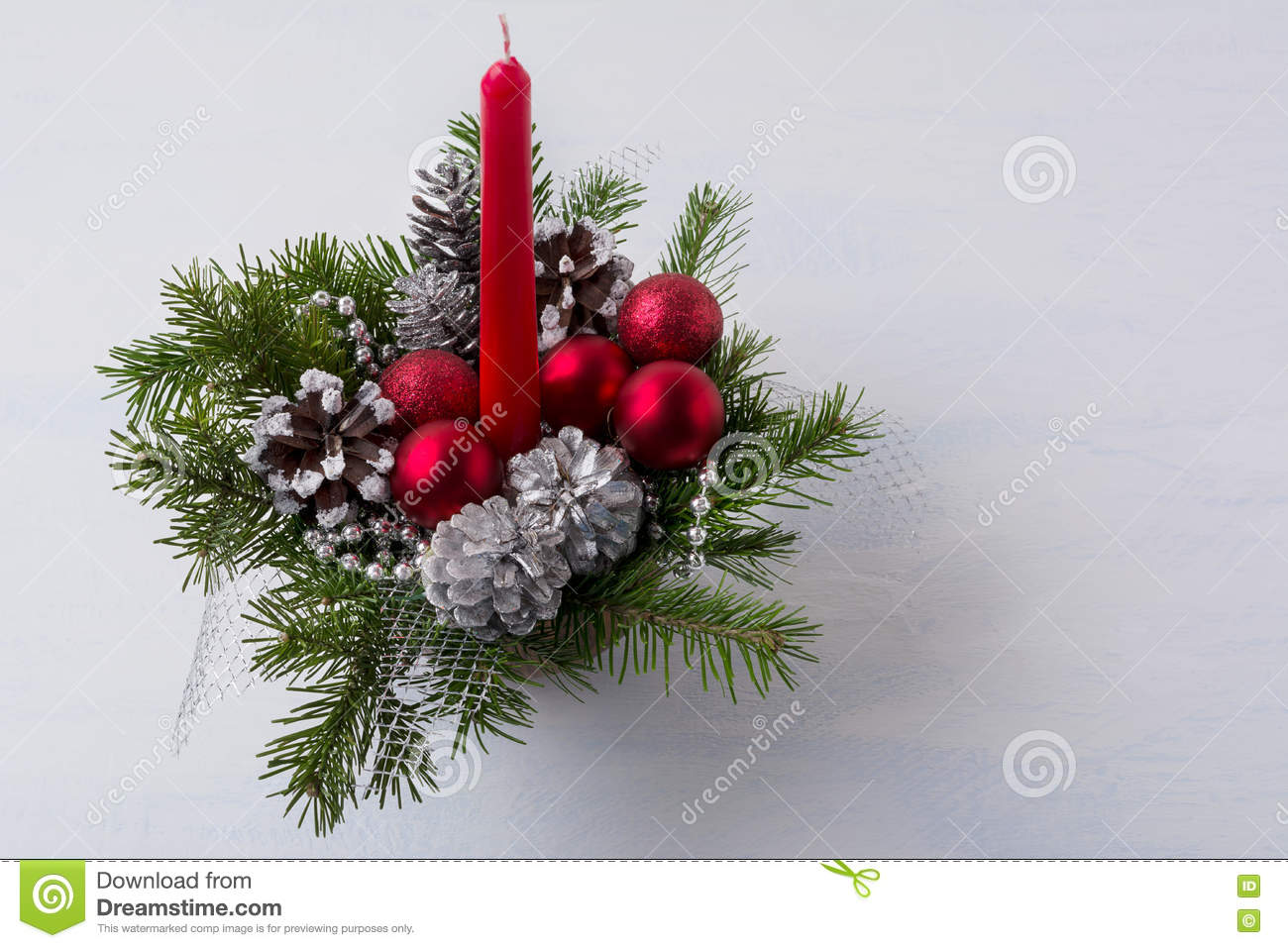 c9f2ec77ae32 Christmas Table Centerpiece With Red Candle And Silver Pine Cone ...