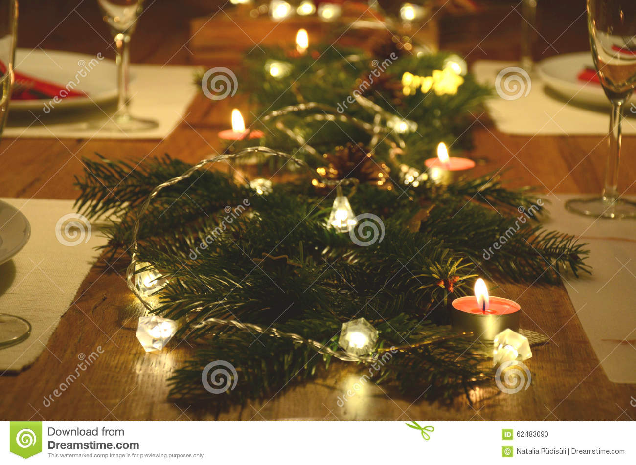 Christmas Table Decoration With Fir Tree Twigs And Electric Garland