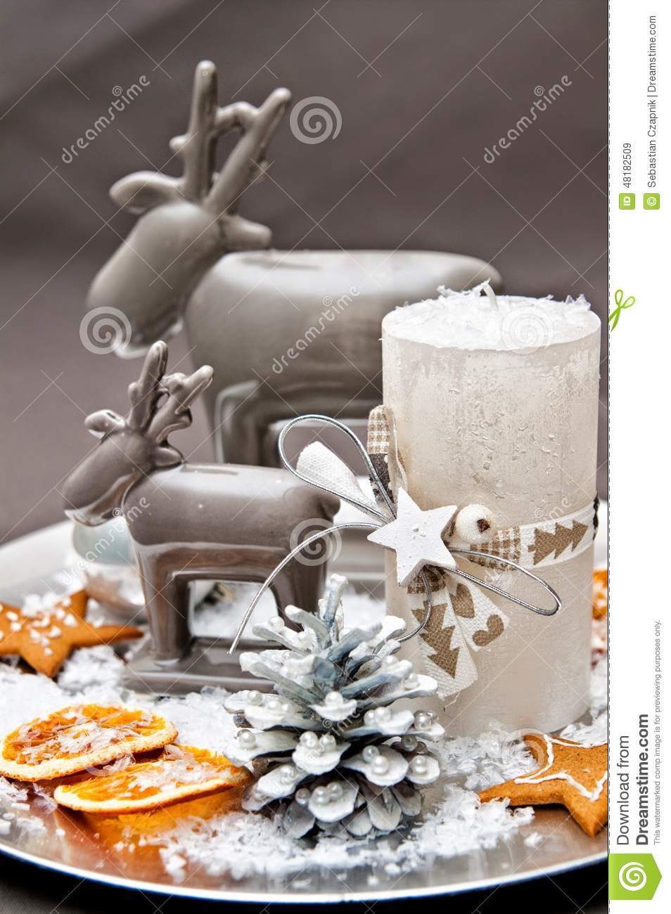 Christmas table with decoration royalty free