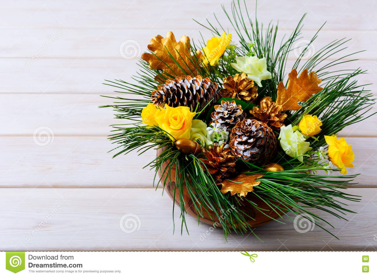Pine Branches For Decoration Christmas Table Decoration With Pine Branches And Golden Cones
