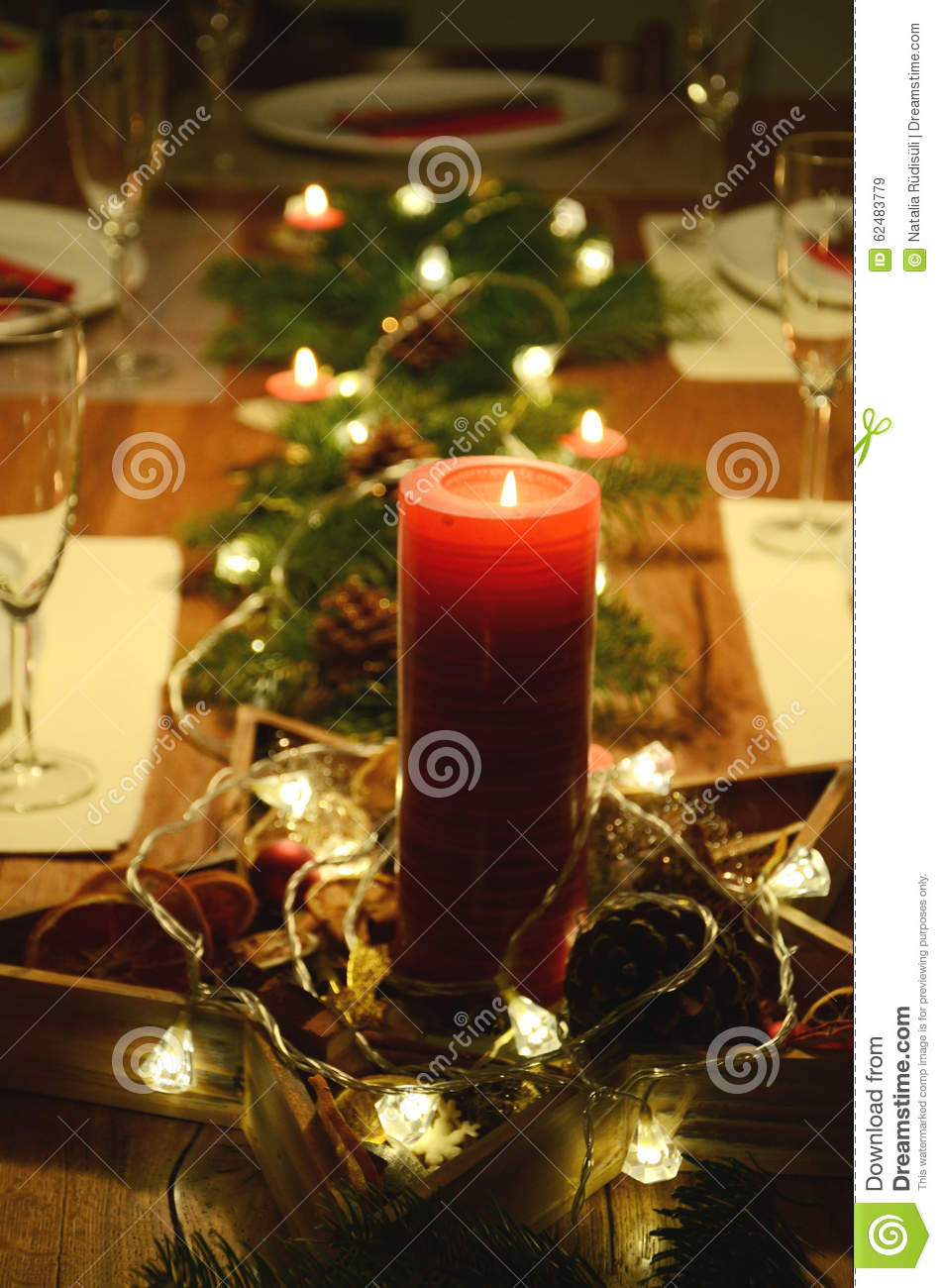 Christmas Table Decoration With Red Candle Fir Tree Twigs And