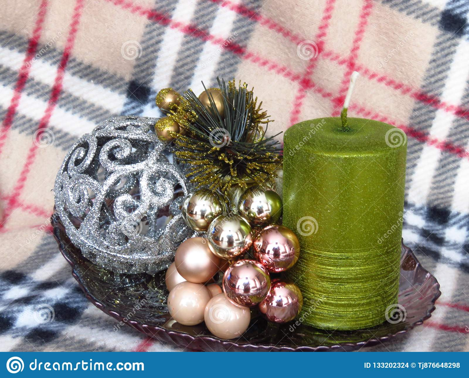 Christmas table decoration on warm winter blanket background. New year decoration.