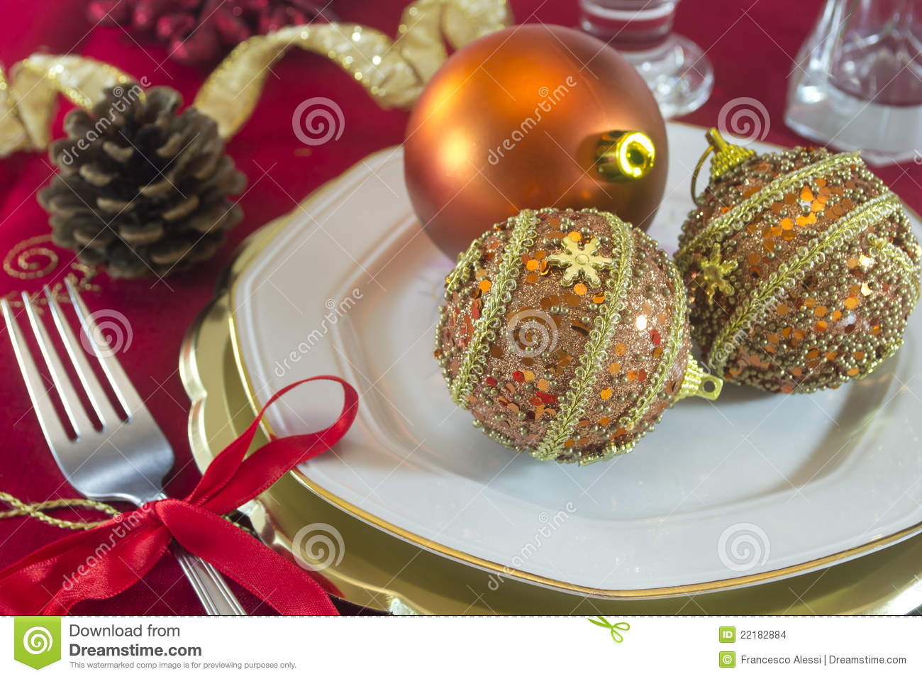 Christmas Table Decorations Stock Photo Image Of Decorations