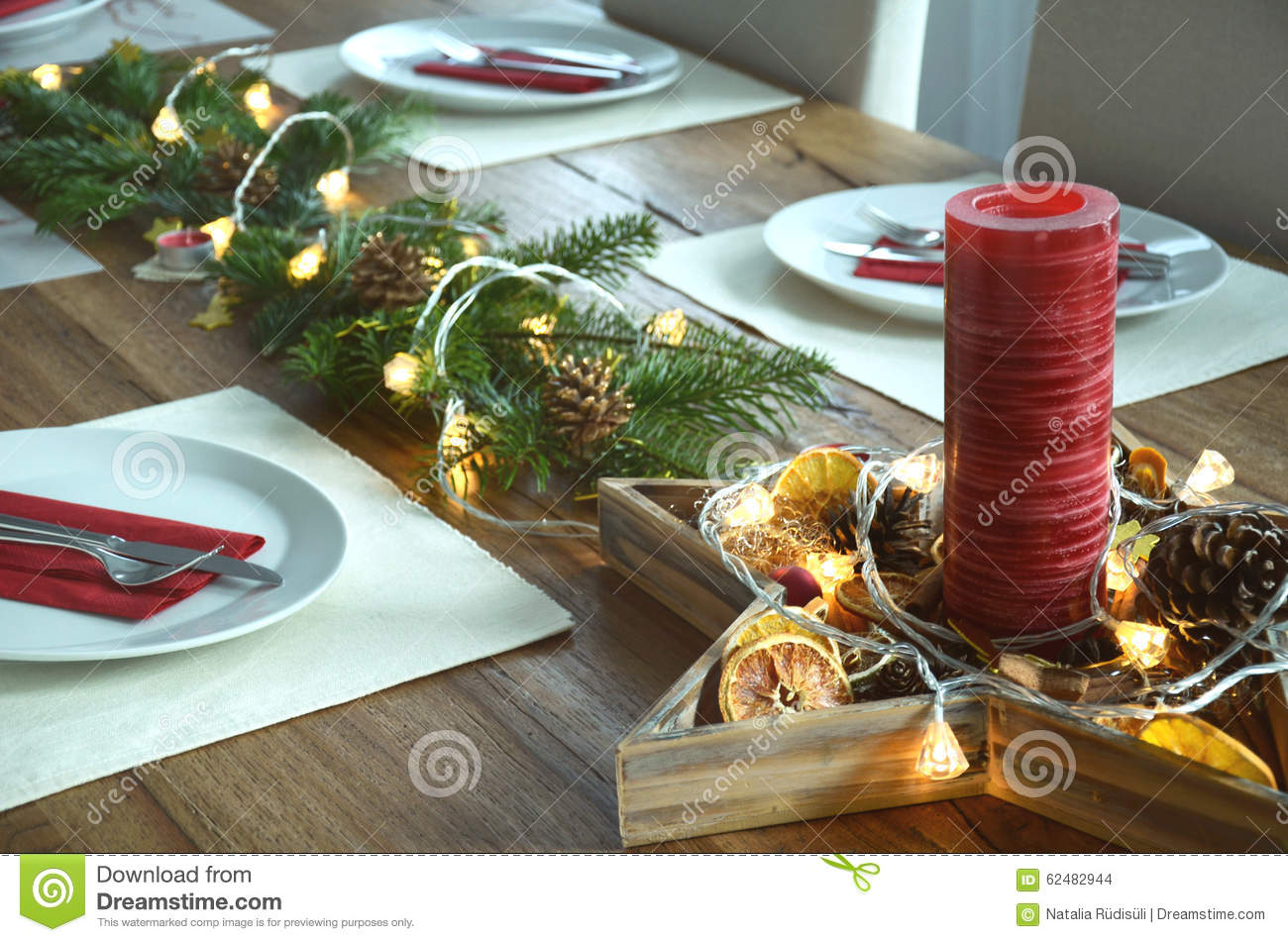 Christmas Table Decoraton With A Red Candle Fir Tree Twigs And