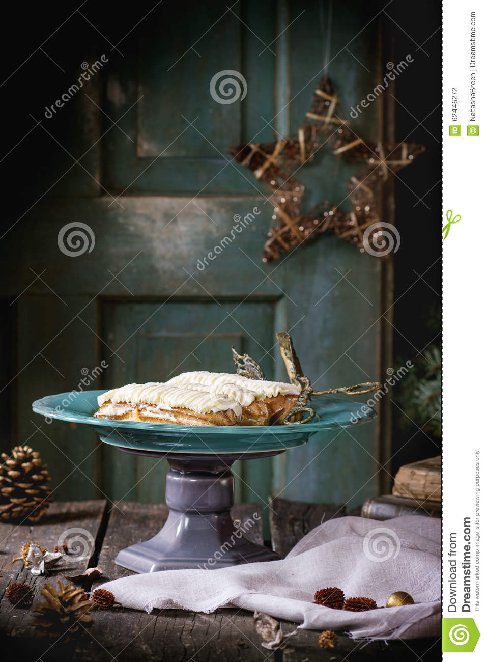 Christmas table with eclairs stock photo image 62446272 for Antique books for decoration