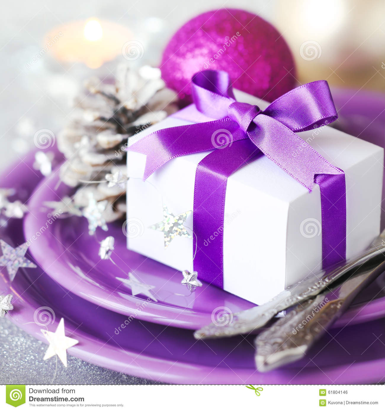 Christmas Table Place With Gift Stock Photo Image 61804146