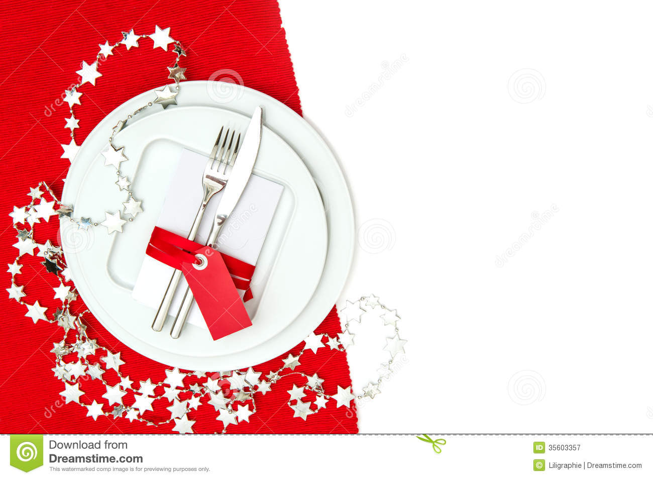 Christmas Table Place Setting Decoration In Red And Silver ...