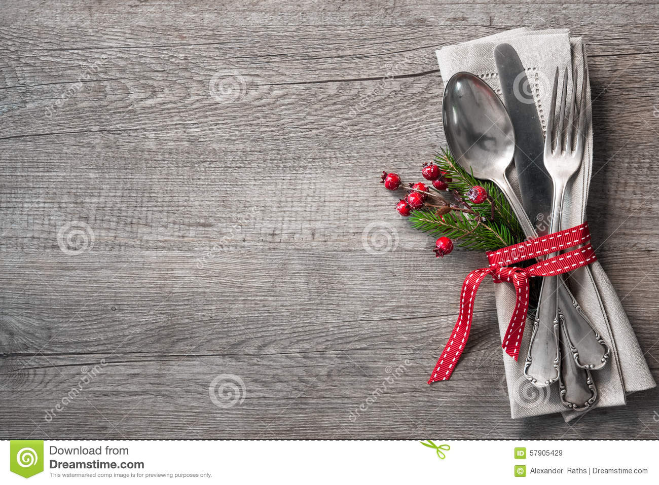 Christmas Table Place Setting Stock Image Image Of