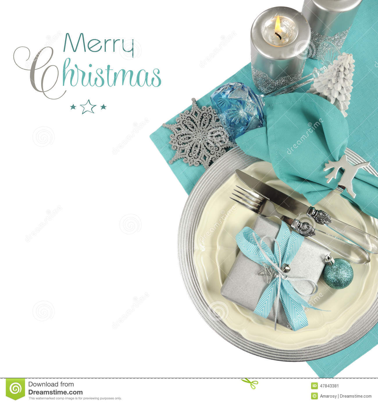 Christmas Table Place Settings In Aqua Blue Silver And