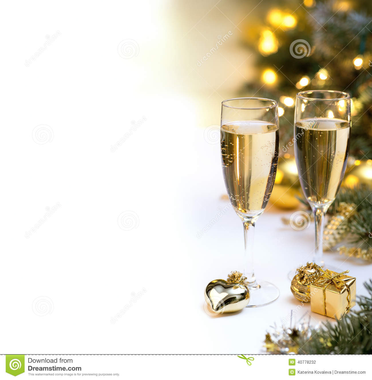 Christmas Table Set With Champagne Glasses For Postcards Stock Photo - Image:...