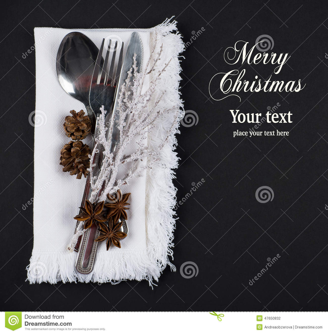 Christmas table setting, christmas menu concept in silver, brown and white color tone