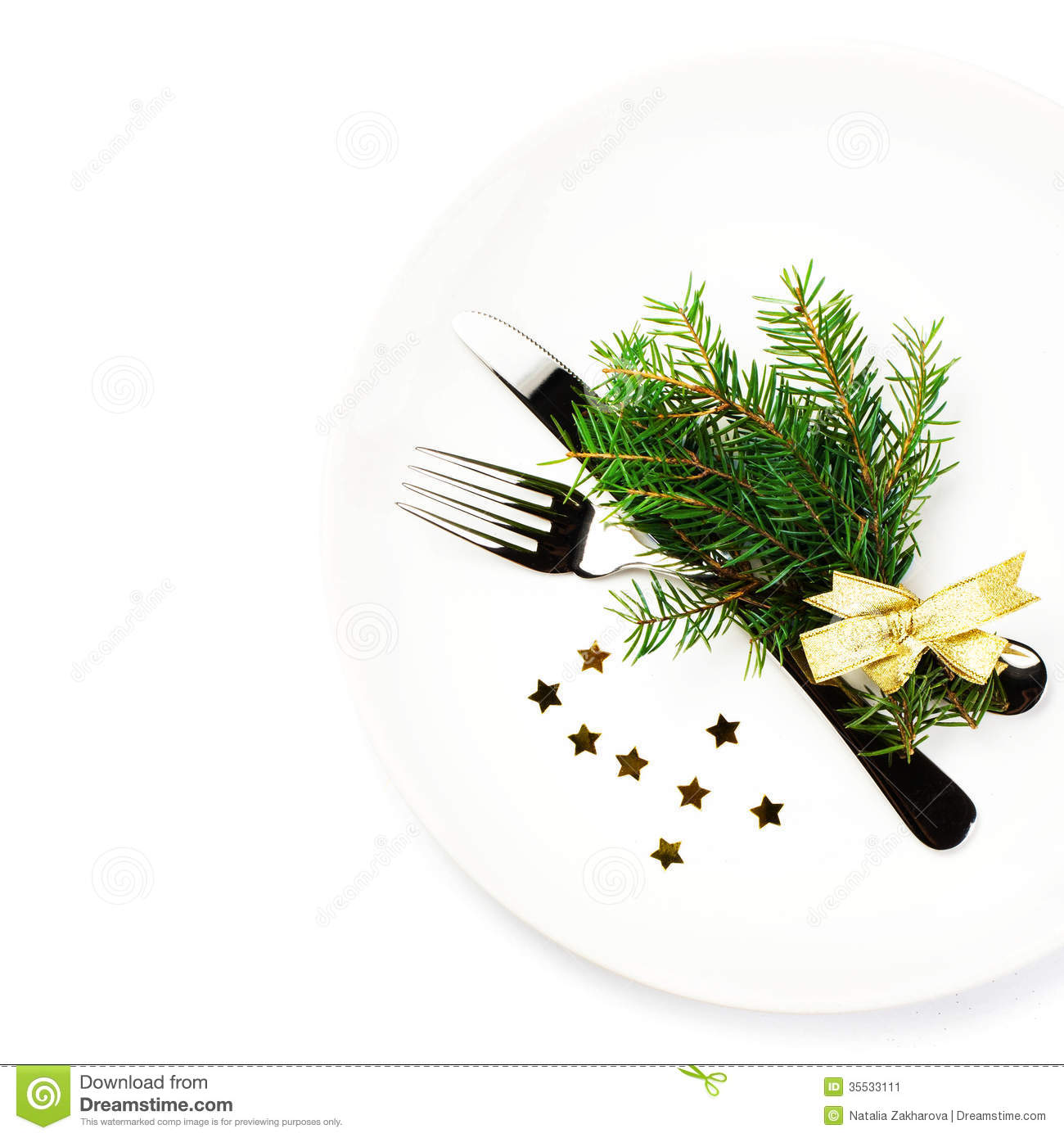 Christmas Table Setting With Festive Decorations On White