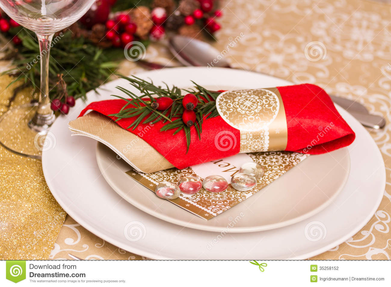 Christmas Table Setting With Holiday Decorations Stock ...