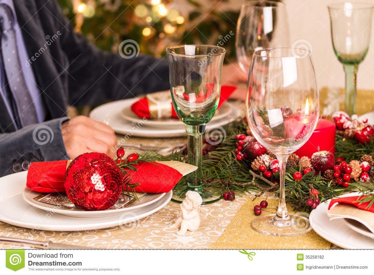 Christmas Table Setting With Holiday Decorations Stock