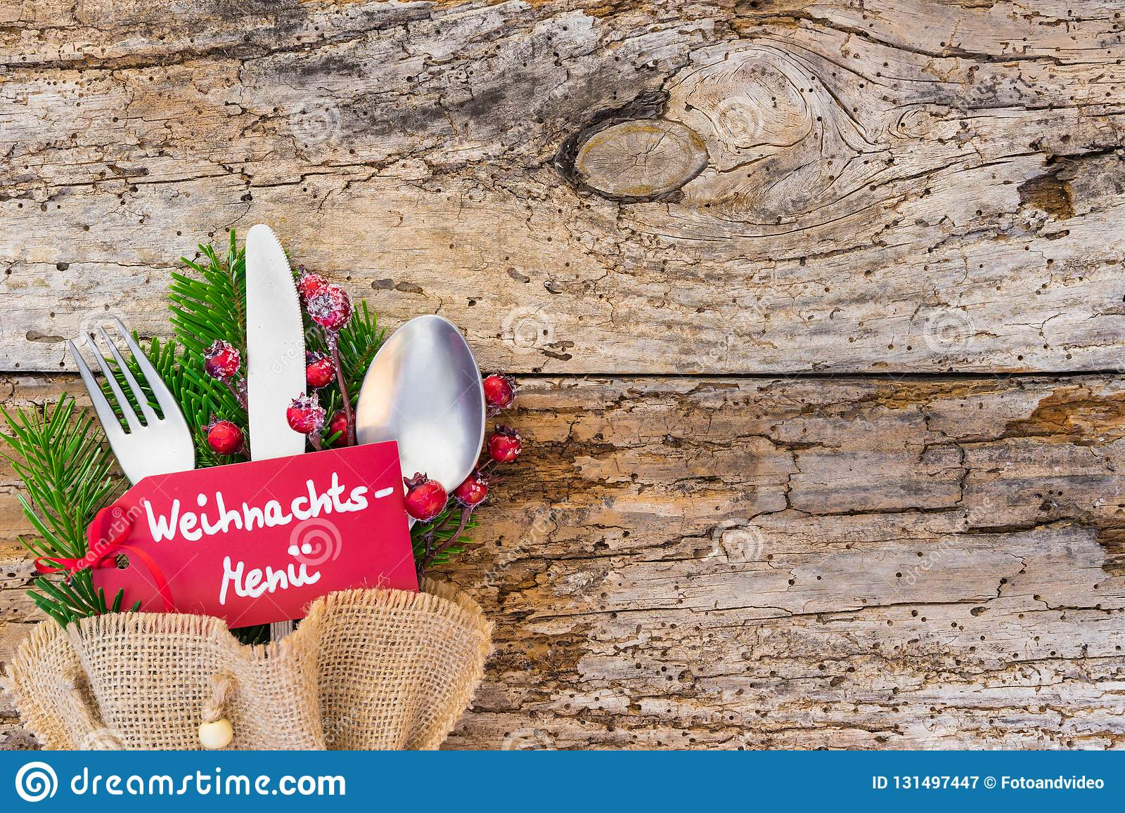 christmas table setting with label an german text weihnachts menue means christmas menu on. Black Bedroom Furniture Sets. Home Design Ideas
