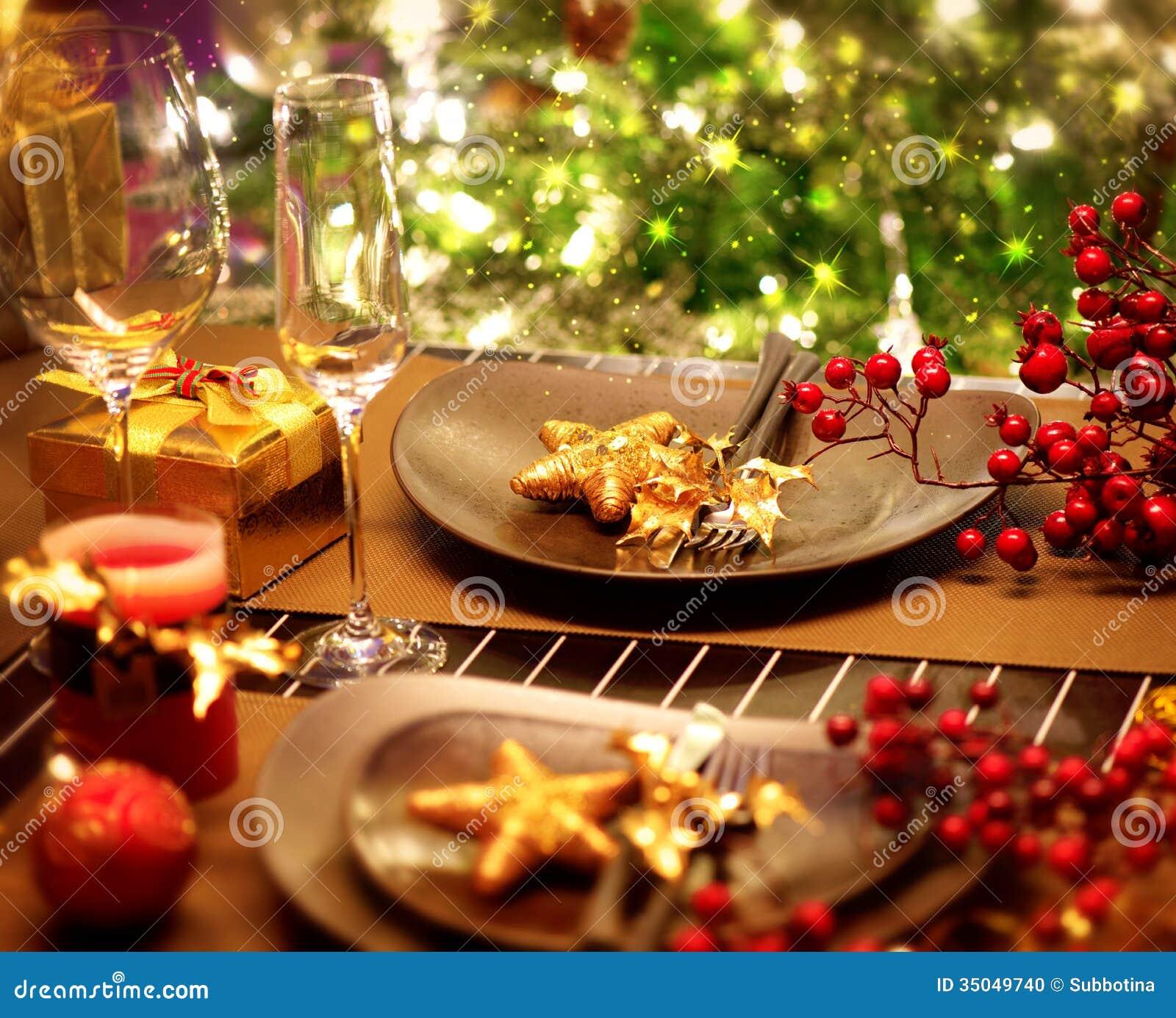 Christmas Table Setting Stock Photo Image 35049740