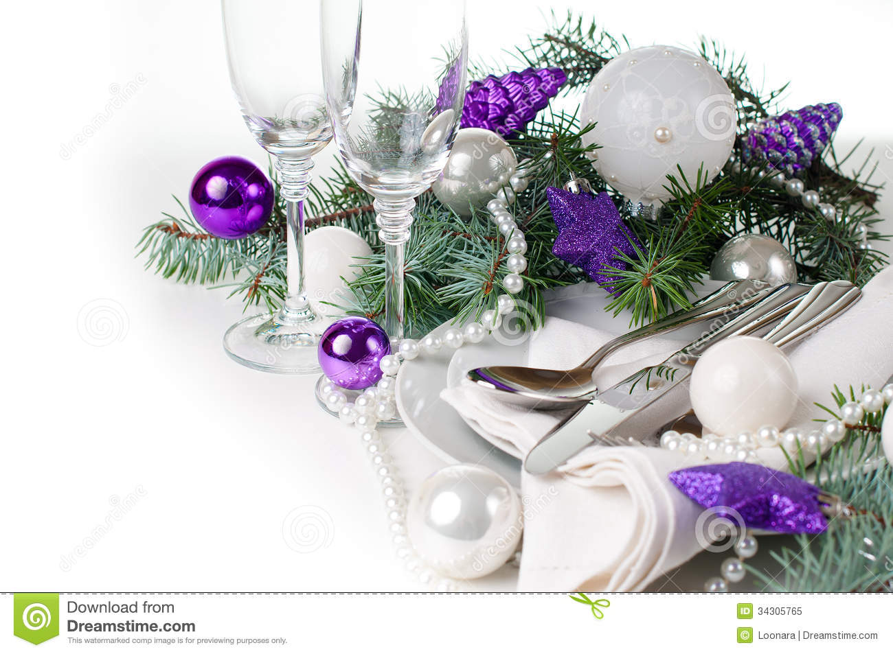 Christmas Table Setting, In Purple Tones Royalty Free