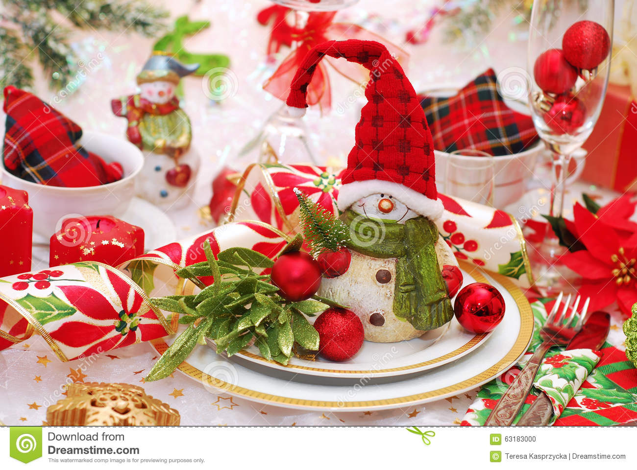 Christmas Table Setting In Red And Green Colors Stock