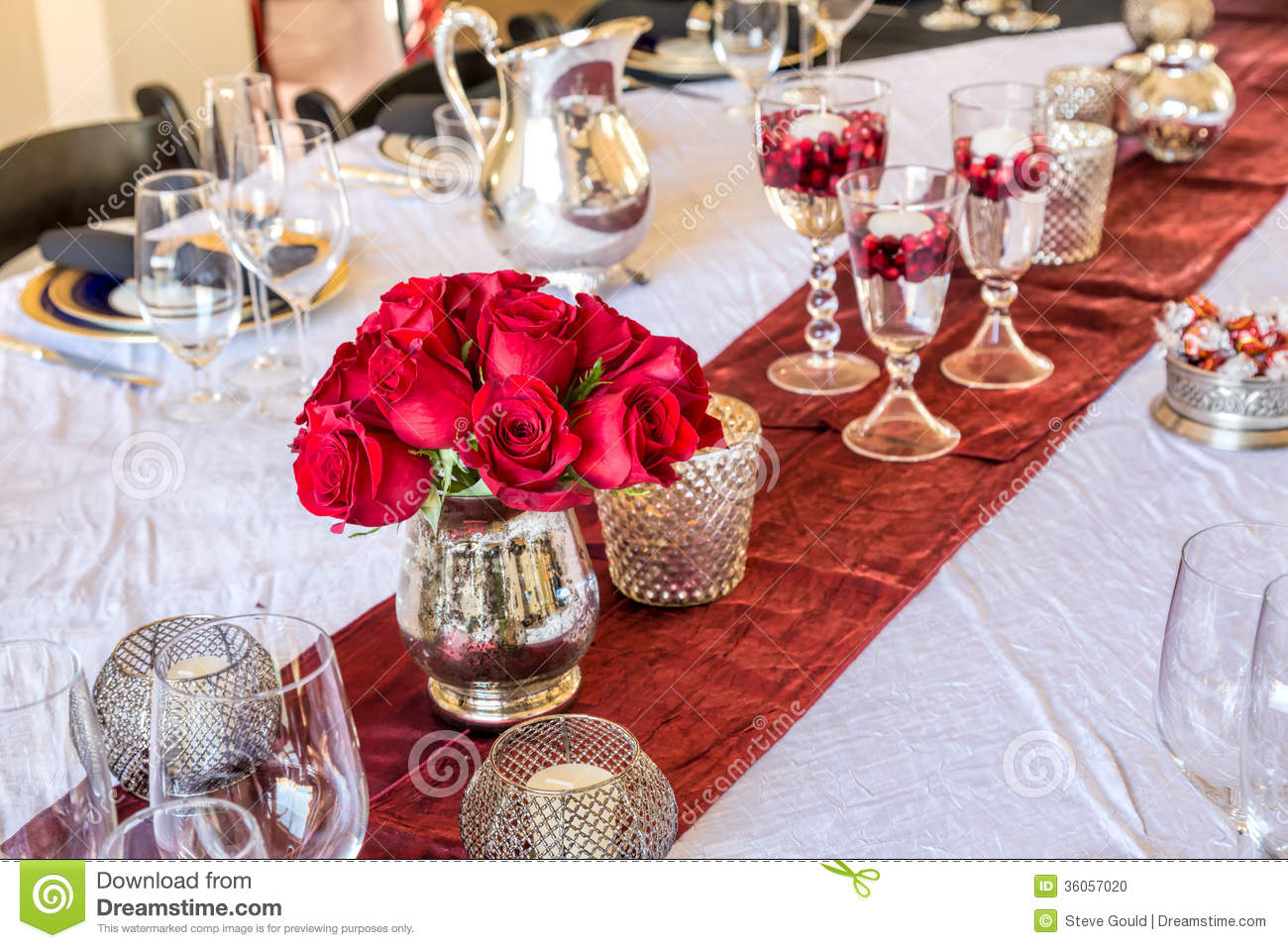 Christmas Table Setting With Red Roses Stock Photo Image