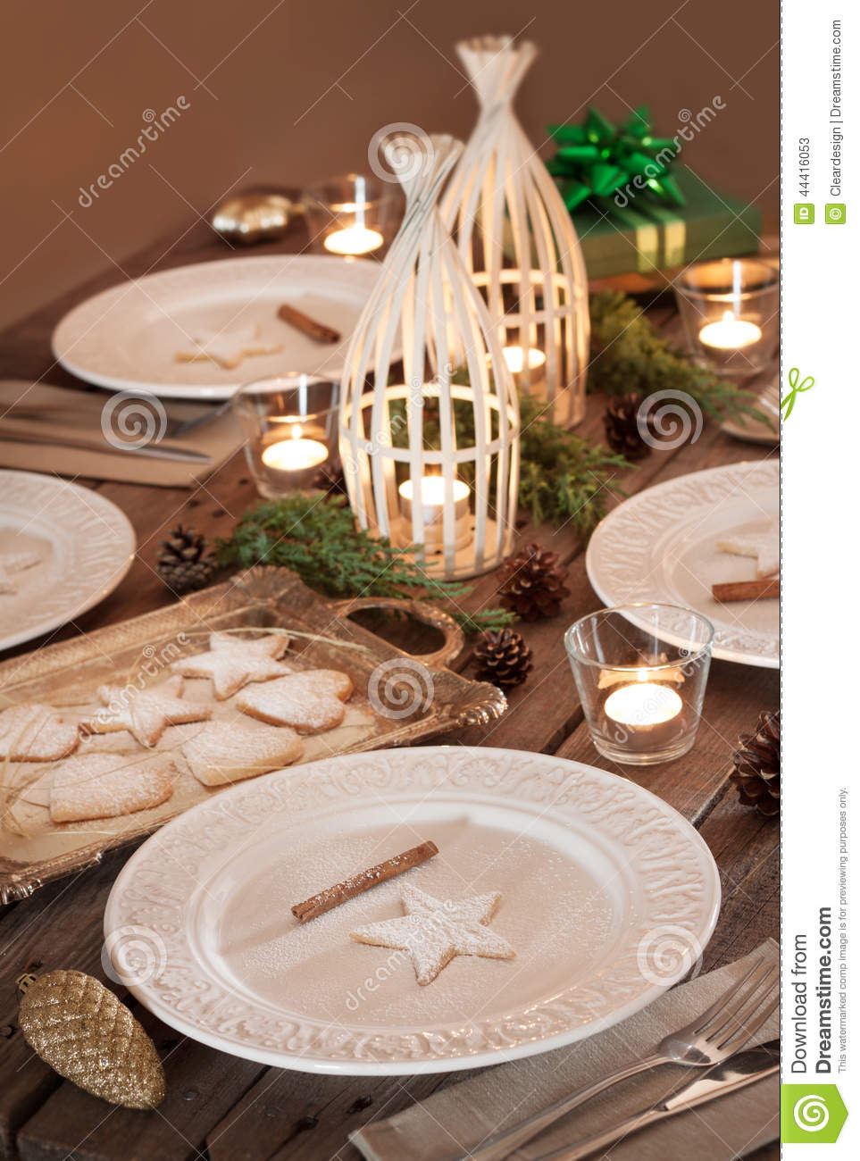 Christmas table setting rustic style natural decorations stock photo imag - Deco table noel chic ...