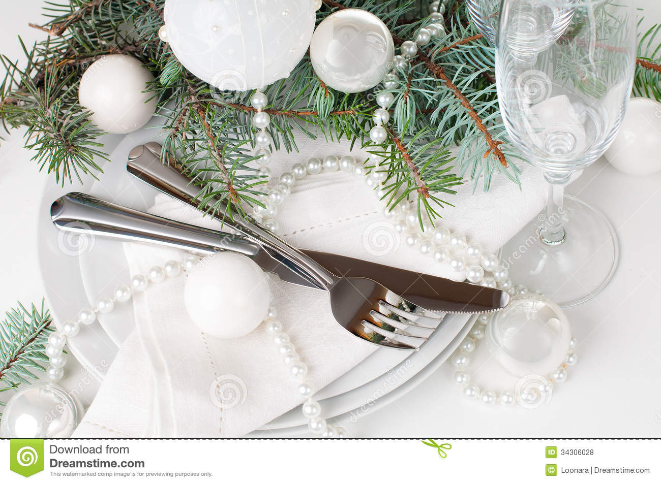Christmas Table Setting Table Decoration In White Stock