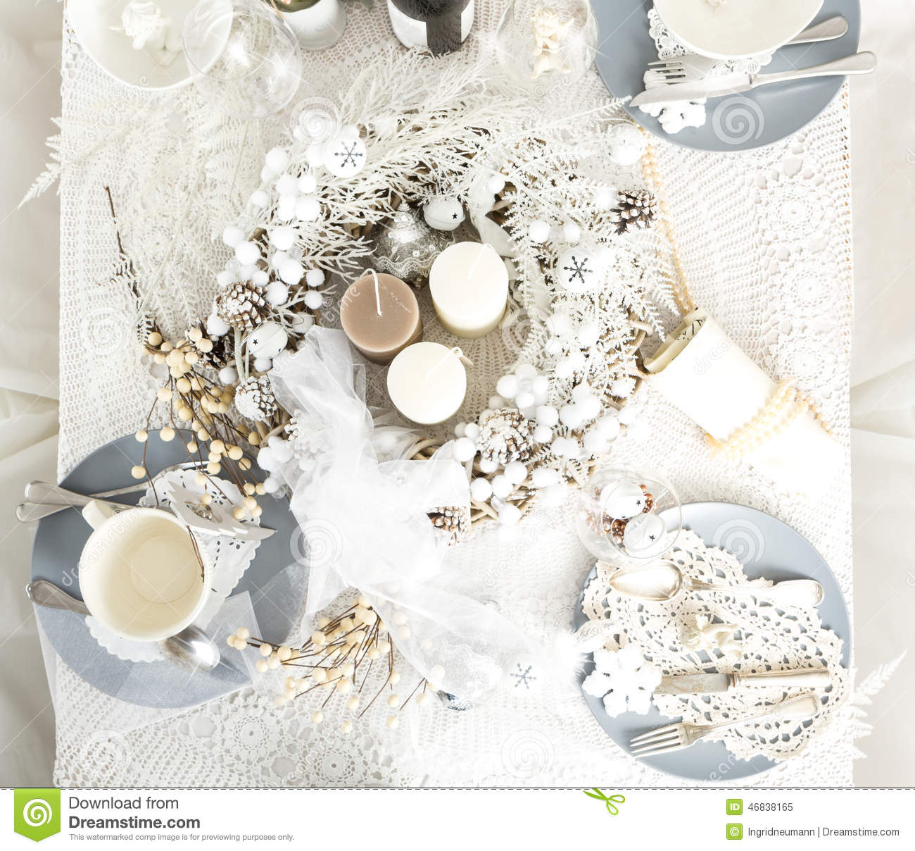 Christmas table setting with traditional holiday decorations stock photo im - Deco table noel chic ...