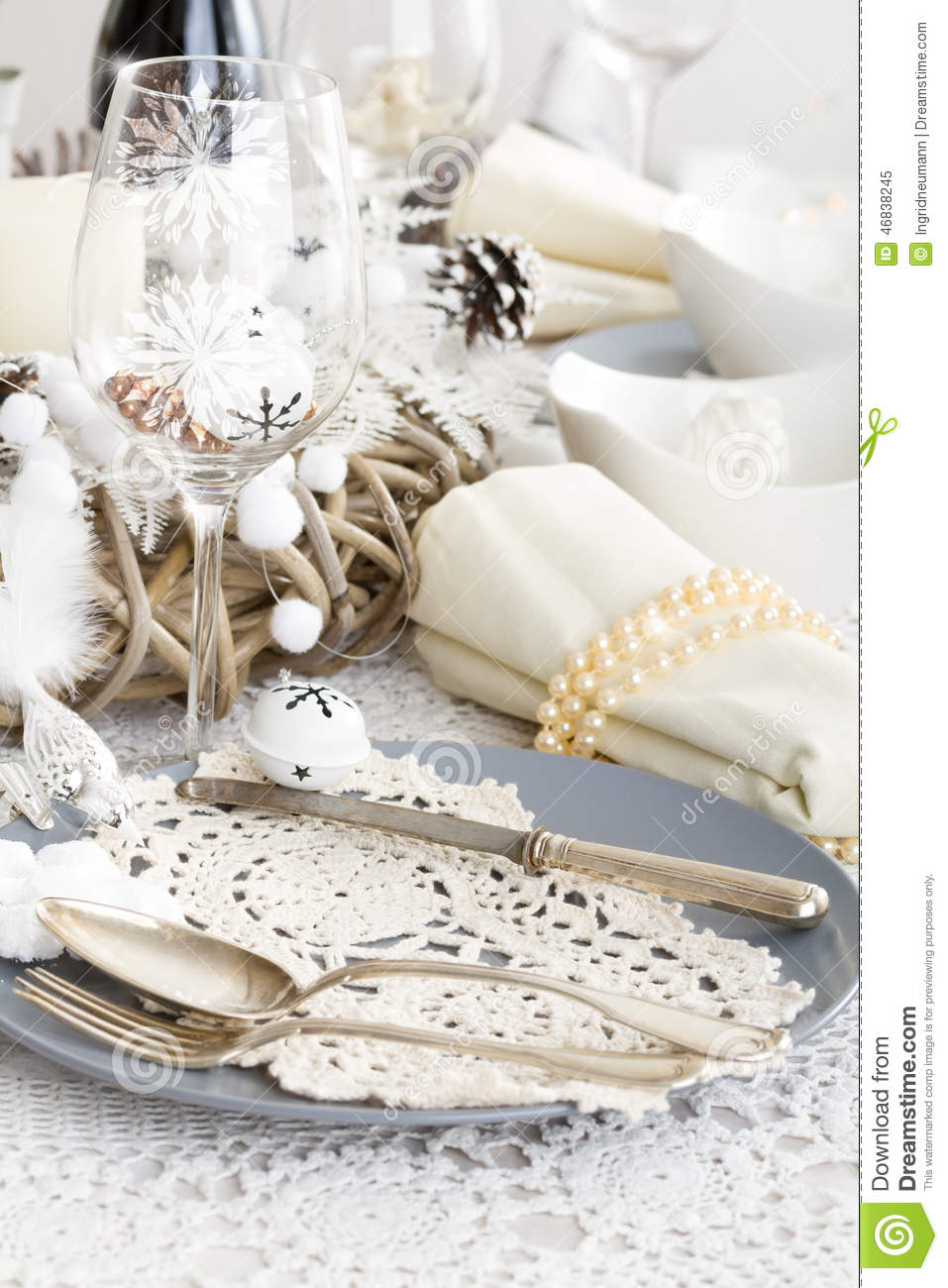Christmas Table Setting With Traditional Holiday Decorations Stock ...