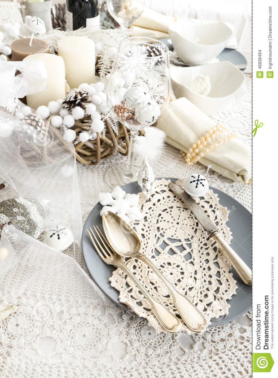 Christmas Table Setting With Traditional Holiday