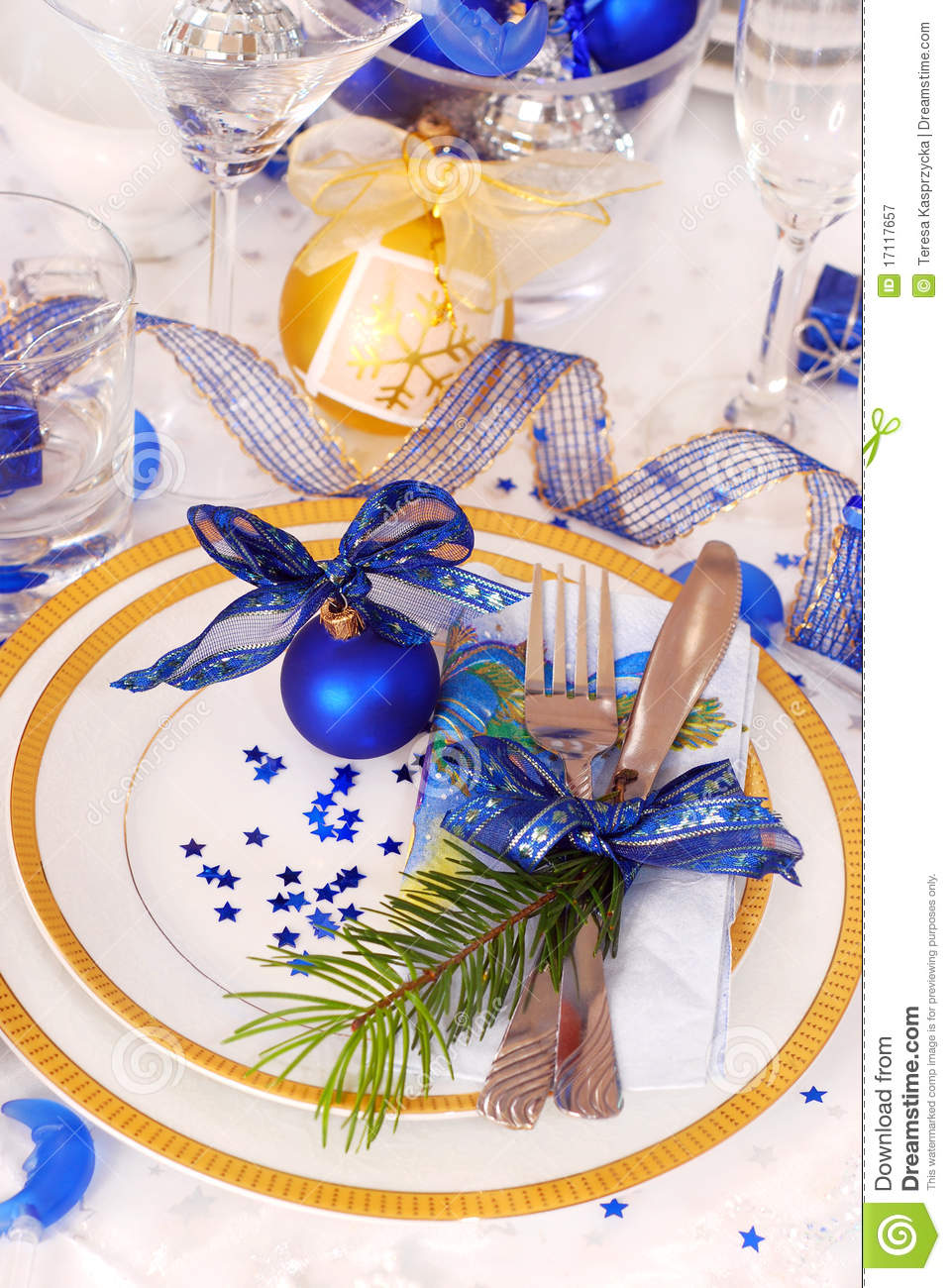 Christmas Table Setting In White And Blue Colors Stock Image Image