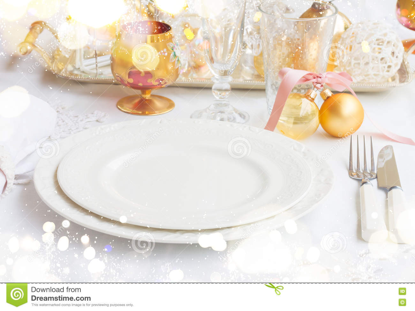 Christmas Tableware Set Stock Photo Image Of Holiday 80550896